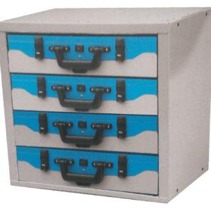Armoire à tiroirs avec plateaux pour valises