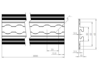Rail aéronautique aluminium encastrable à ailettes