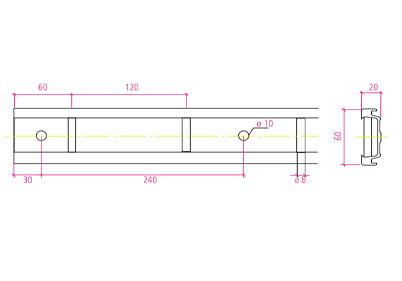 Rail à echelle aluminium avec protection PVC noir